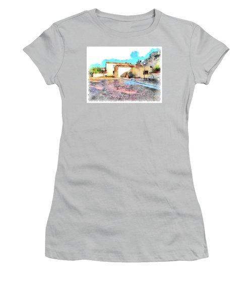 Arzachena Church Square Snow Madonna Women's T-Shirt (Athletic Fit)
