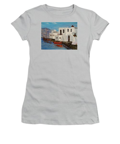 Women's T-Shirt (Junior Cut) featuring the painting At Home In Greece by Marilyn  McNish