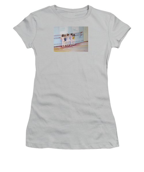 Women's T-Shirt (Junior Cut) featuring the painting At The Barre by Julie Todd-Cundiff