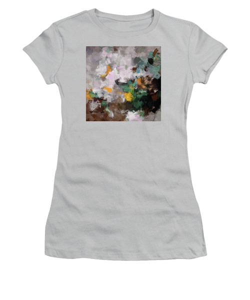 Women's T-Shirt (Junior Cut) featuring the painting Autumn Abstract Painting by Ayse Deniz