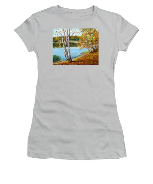 Women's T-Shirt (Junior Cut) featuring the painting Autumn by Nina Mitkova