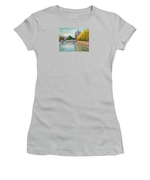 Autumn On The Seine Women's T-Shirt (Junior Cut) by Jill Musser