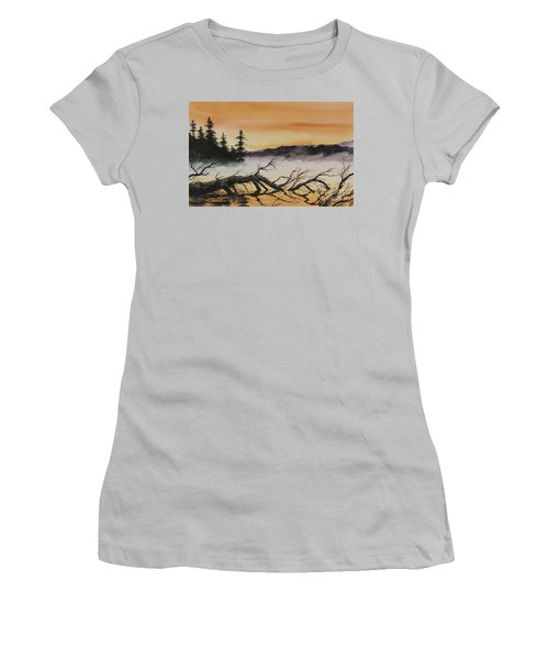 Women's T-Shirt (Junior Cut) featuring the painting Autumn Sunset Mist by James Williamson