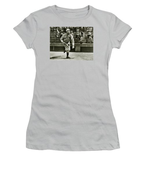 Babe Ruth Pitching Women's T-Shirt (Junior Cut) by Jon Neidert