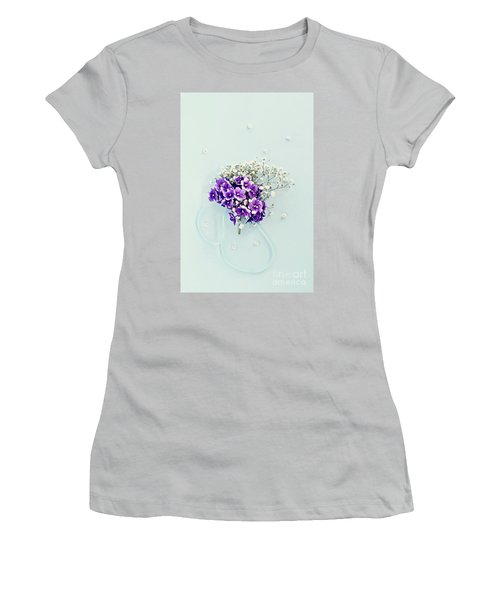 Baby's Breath And Violets Bouquet Women's T-Shirt (Athletic Fit)
