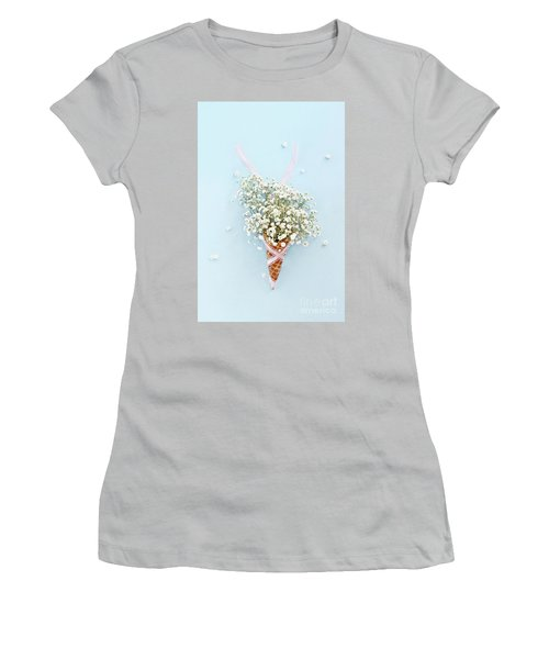 Women's T-Shirt (Junior Cut) featuring the photograph Baby's Breath Ice Cream Cone by Stephanie Frey