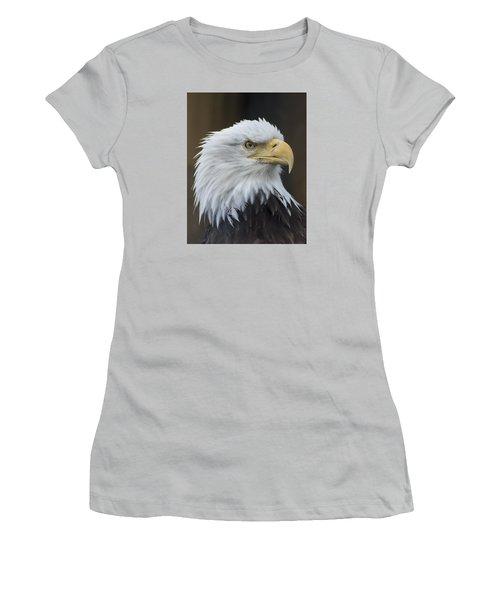 Bald Eagle Portrait Women's T-Shirt (Junior Cut) by Gary Lengyel