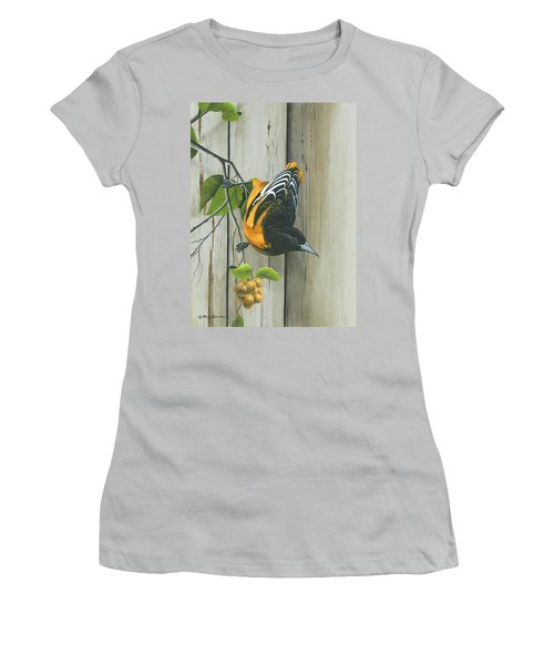 Women's T-Shirt (Junior Cut) featuring the painting Baltimore Oriole by Mike Brown