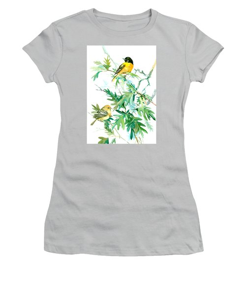 Baltimore Orioles And Oak Tree Women's T-Shirt (Junior Cut) by Suren Nersisyan