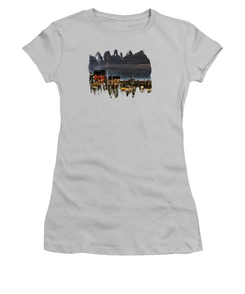 Women's T-Shirt (Junior Cut) featuring the photograph Bandon Boat Basin At Dawn by Thom Zehrfeld