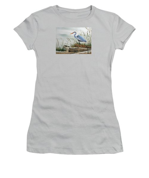 Beautiful Heron Shore Women's T-Shirt (Athletic Fit)