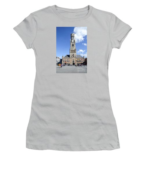 Women's T-Shirt (Junior Cut) featuring the photograph Belfry Of Bruges by Pravine Chester