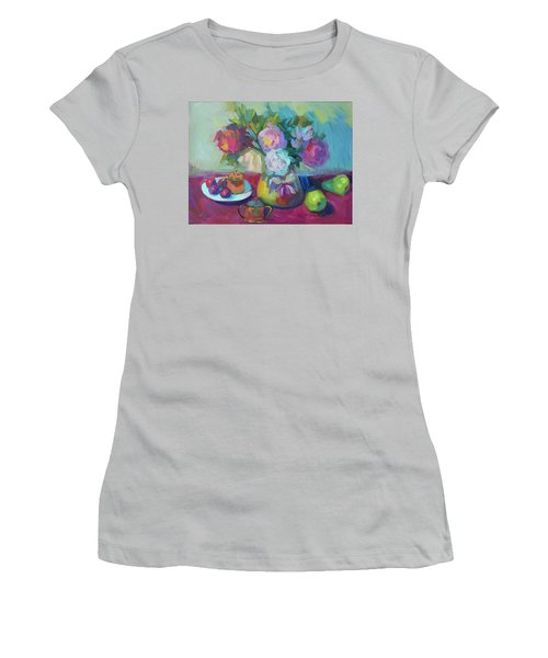 Women's T-Shirt (Junior Cut) featuring the painting Belgian Creamer And Sugar by Diane McClary