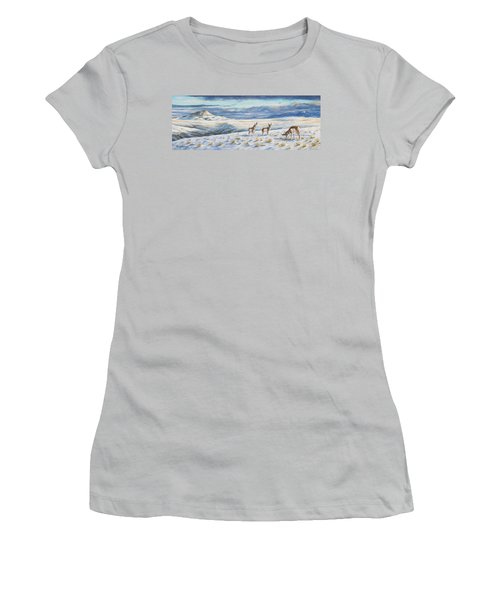 Women's T-Shirt (Junior Cut) featuring the painting Belt Butte Winter by Kim Lockman