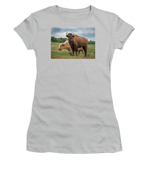 Women's T-Shirt (Athletic Fit) featuring the photograph Bison 10 by Joye Ardyn Durham