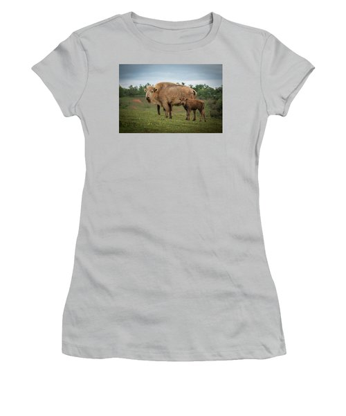 Women's T-Shirt (Athletic Fit) featuring the photograph Bison 7 by Joye Ardyn Durham