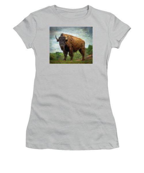 Women's T-Shirt (Athletic Fit) featuring the photograph Bison 9 by Joye Ardyn Durham