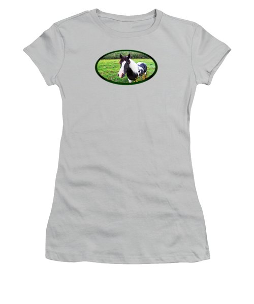 Black And White Horse-natural Setting Women's T-Shirt (Athletic Fit)