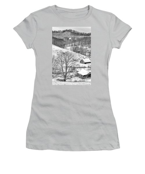 Black And White In Winter Women's T-Shirt (Athletic Fit)