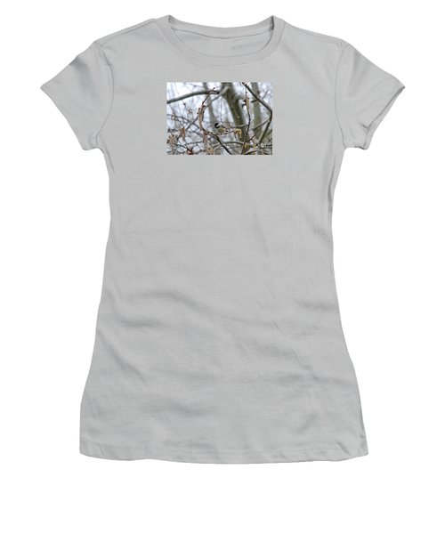 Black-capped Chickadee 20120321_38a Women's T-Shirt (Athletic Fit)