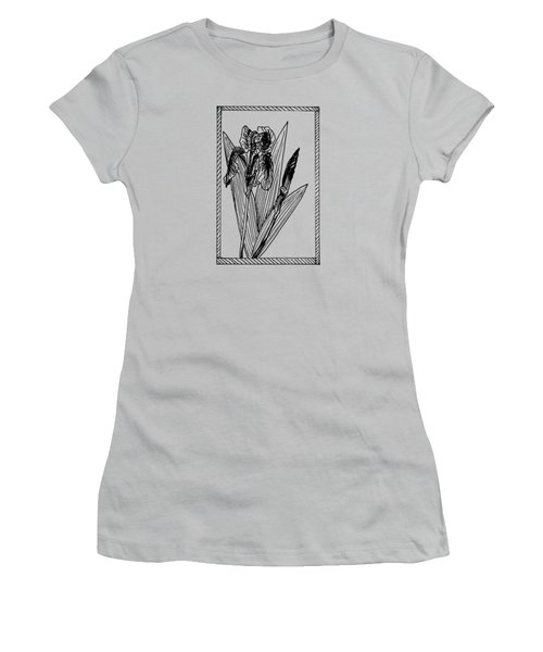 Black Iris On Transparent Background Women's T-Shirt (Athletic Fit)