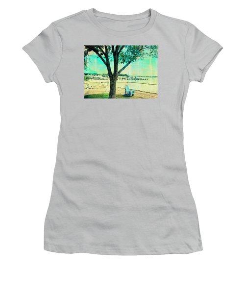 Women's T-Shirt (Junior Cut) featuring the photograph Blue Beach Chair by Susan Stone