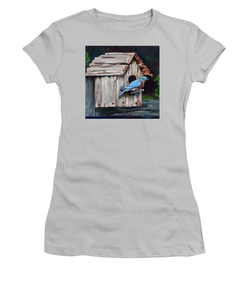 Women's T-Shirt (Athletic Fit) featuring the painting Blue Bird On Lake Odom by Jan Dappen