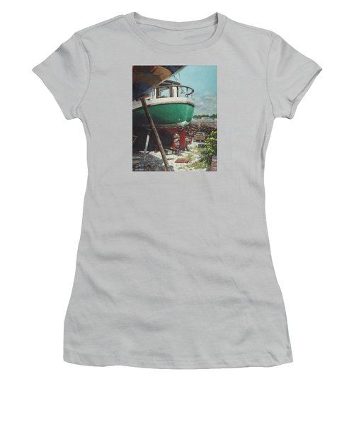 Women's T-Shirt (Junior Cut) featuring the painting Boat Yard Boat 01 by Martin Davey