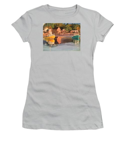 Boats In Kennebunkport Harbor Women's T-Shirt (Athletic Fit)