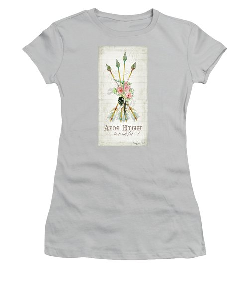 Women's T-Shirt (Athletic Fit) featuring the painting Boho Western Arrows N Feathers W Wood Macrame Feathers And Roses Aim High by Audrey Jeanne Roberts