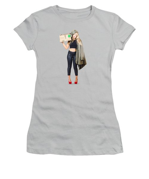 Bombshell Blond Pinup Woman In Dangerous Style Women's T-Shirt (Junior Cut) by Jorgo Photography - Wall Art Gallery