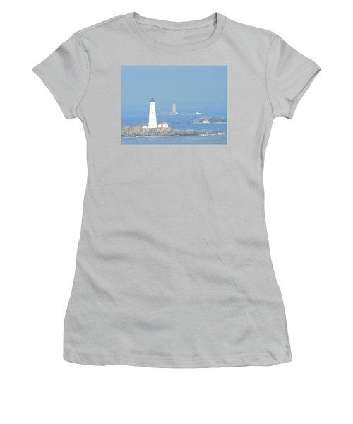 Boston Harbors Lighthouses Women's T-Shirt (Athletic Fit)