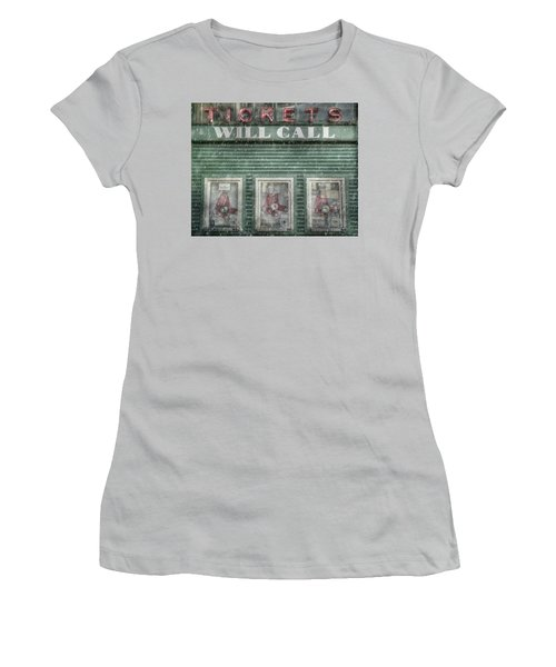 Women's T-Shirt (Junior Cut) featuring the photograph Boston Red Sox Fenway Park Ticket Booth In Winter by Joann Vitali