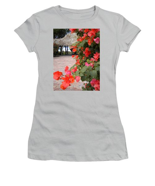 Women's T-Shirt (Junior Cut) featuring the painting Bouganvilla 2 by Renate Nadi Wesley