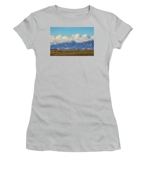 Women's T-Shirt (Junior Cut) featuring the photograph Boulder Colorado Front Range Cloud Pile On by James BO Insogna