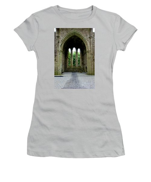 Women's T-Shirt (Junior Cut) featuring the photograph Boyle Abbey In Ireland 2 by Michelle Joseph-Long