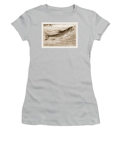 Brook Trout Going After A Fly Women's T-Shirt (Junior Cut) by John Stephens