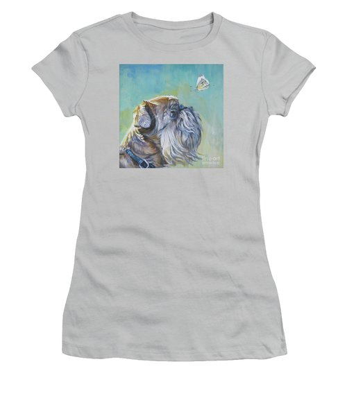 Brussels Griffon With Butterfly Women's T-Shirt (Athletic Fit)
