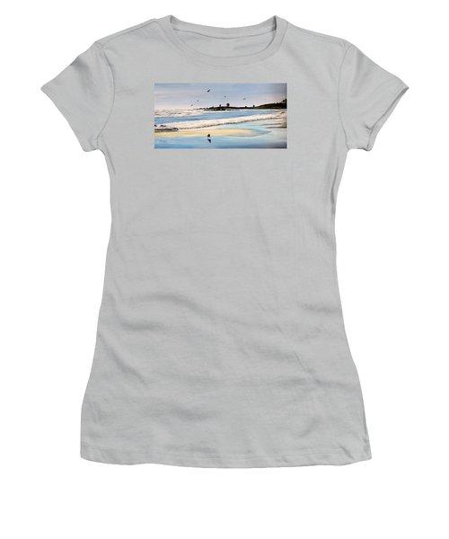 Bull Beach Women's T-Shirt (Junior Cut) by Marilyn McNish