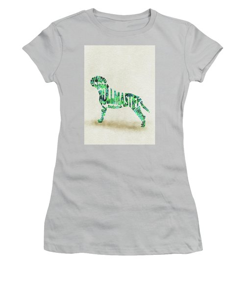 Women's T-Shirt (Athletic Fit) featuring the painting Bullmastiff Watercolor Painting / Typographic Art by Ayse and Deniz