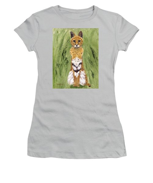 Women's T-Shirt (Athletic Fit) featuring the painting Bush Cat by Jamie Frier