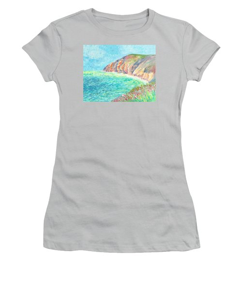 Women's T-Shirt (Athletic Fit) featuring the painting By The Sea by Elizabeth Lock