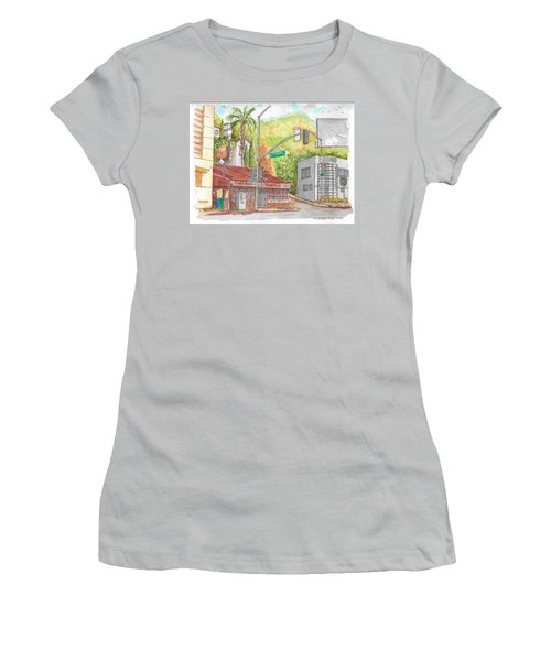 Cabo Cantina, Sunset Blvd And Sweetzer Ave., West Hollywood, California Women's T-Shirt (Junior Cut) by Carlos G Groppa