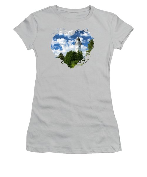 Women's T-Shirt (Athletic Fit) featuring the painting Cana Island Lighthouse Cloudscape In Door County by Christopher Arndt