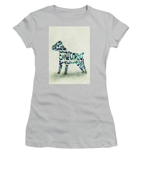 Women's T-Shirt (Athletic Fit) featuring the painting Cane Corso Watercolor Painting / Typographic Art by Ayse and Deniz