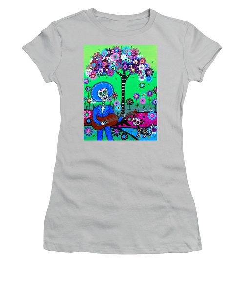 Women's T-Shirt (Athletic Fit) featuring the painting Cantando A Mi Chihuahua by Pristine Cartera Turkus