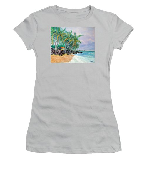 Women's T-Shirt (Junior Cut) featuring the painting Caribbean Retreat by Susan DeLain