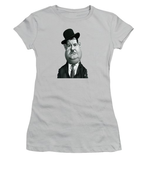 Celebrity Sunday - Oliver Hardy Women's T-Shirt (Junior Cut) by Rob Snow