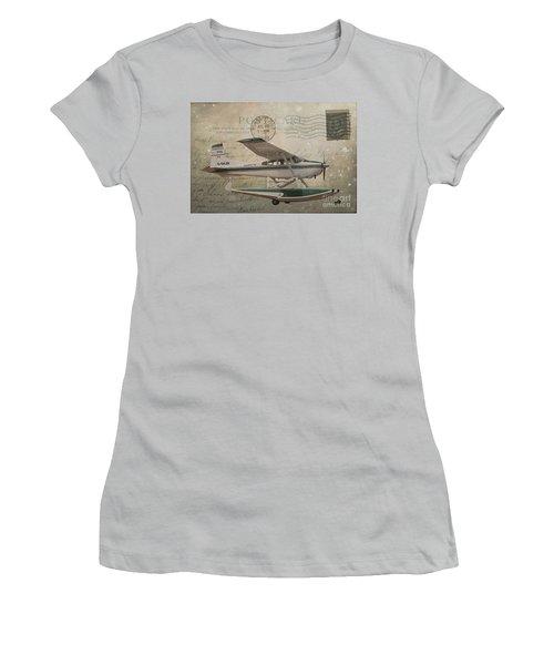 Cessna Skywagon 185 On Vintage Postcard Women's T-Shirt (Junior Cut) by Nina Silver