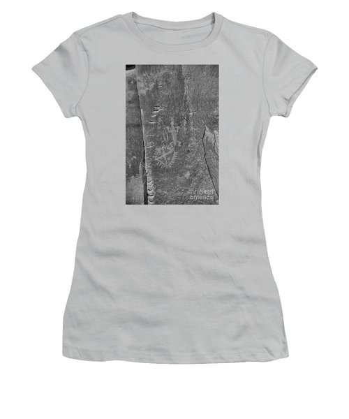 Women's T-Shirt (Junior Cut) featuring the photograph Chaco Petroglyph Figures Black And White by Adam Jewell